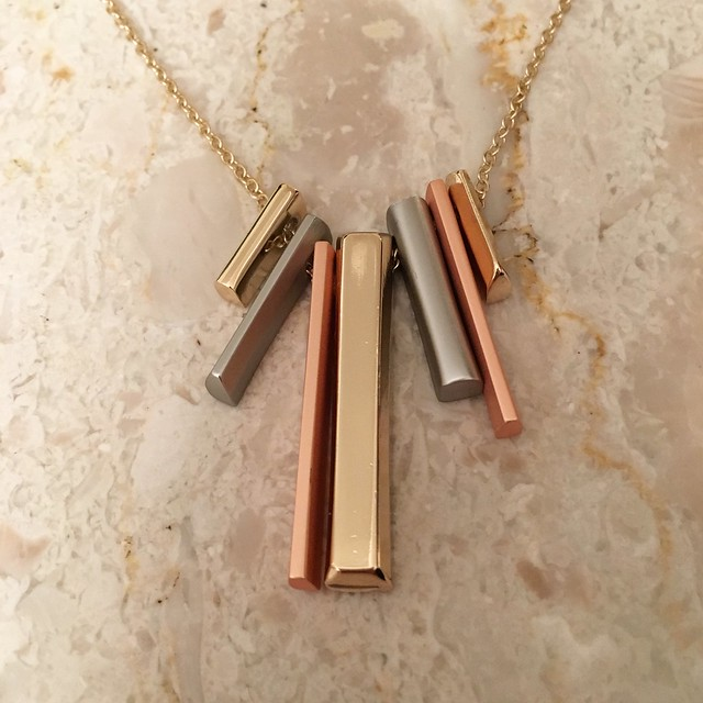 LOFT Mixed metallic Fringe Pendant Necklace