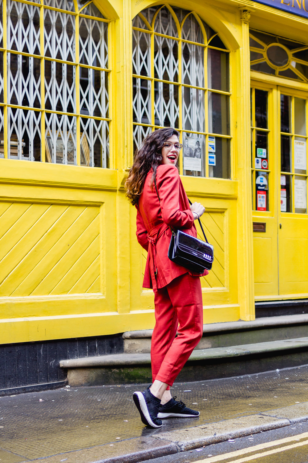 red asos suit with trainers