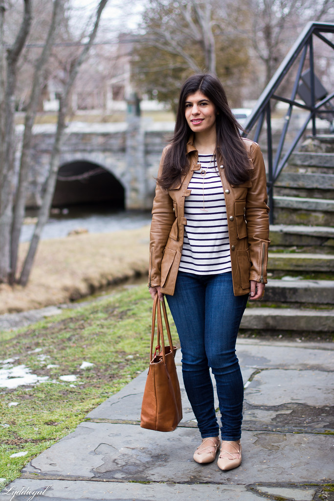 striped tee, brown leather jacket, lace up flats.jpg