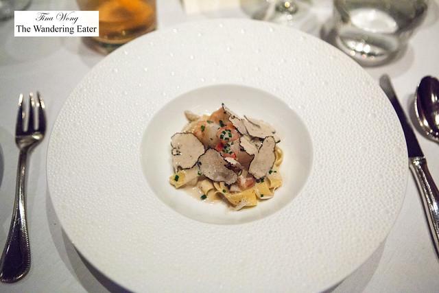 Seafood Truffle Pasta - Crab, Scallop, Lobster; Tagliatelle, Black Truffle Emulsion