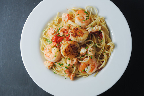 seafood scampi over pasta