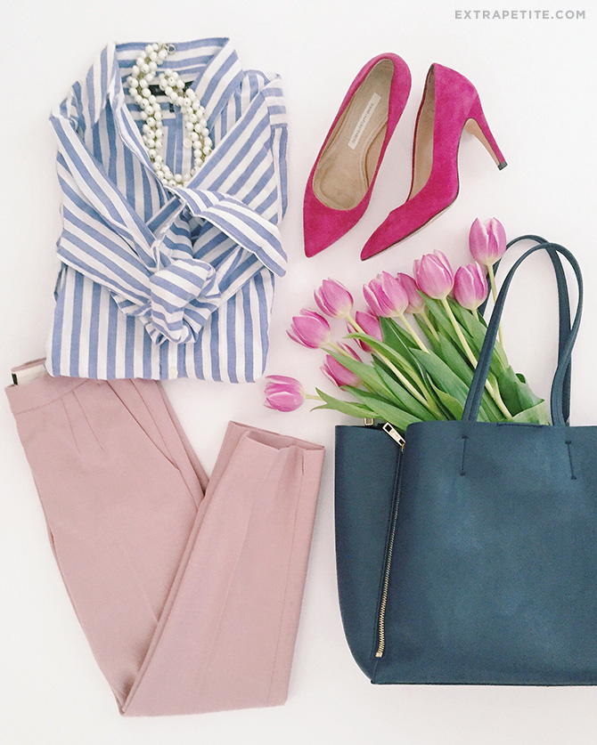 spring work outfit banana republic jcrew petites navy pink