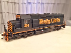 HO Scale Atlas W&LE GP40-3s. Weathered and detailed.