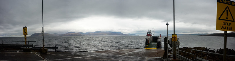 The ferry at Claonaig, looking back to Arran. 20160413-DSC_0323-Pano-10502 x 3159