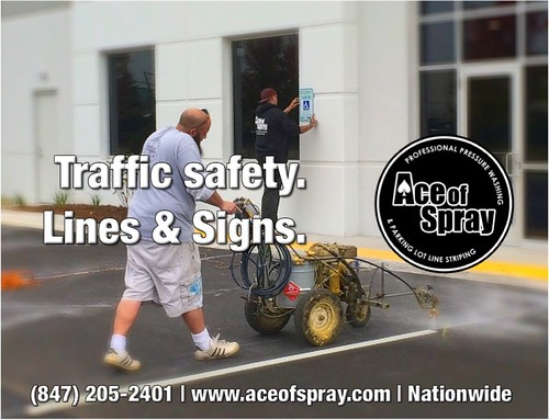 Parking Lot Striping - Traffic Controls - Ace of Spray