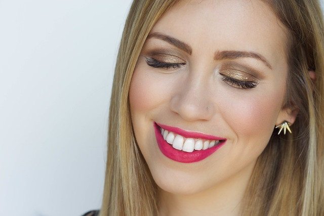 Bronze Metallic Eye | Bright Pink Lipstick with Maybelline Vivid Matte Liquid Lip in Berry Boost | Spring Makeup Tutorial on Living After Midnite by Jackie Giardina
