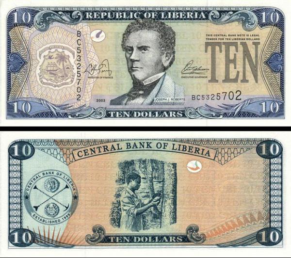 10 Dolárov Liberia 1999, P22 UNC
