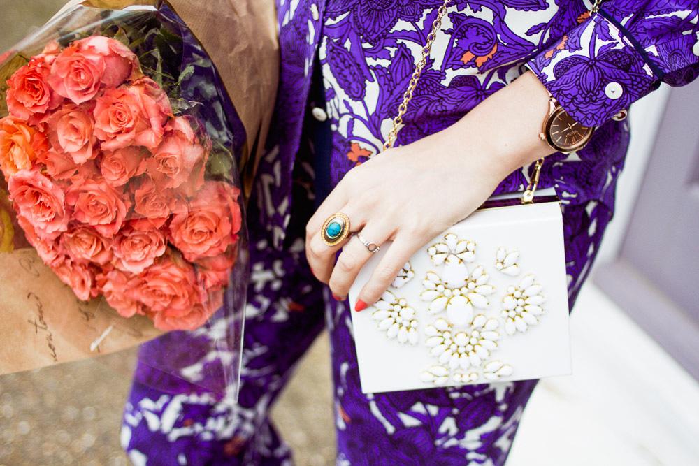 box bag printed suit and roses