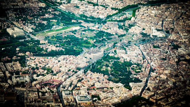 Aerial view of the Colosseum - Rome, Italy - Aerial photography