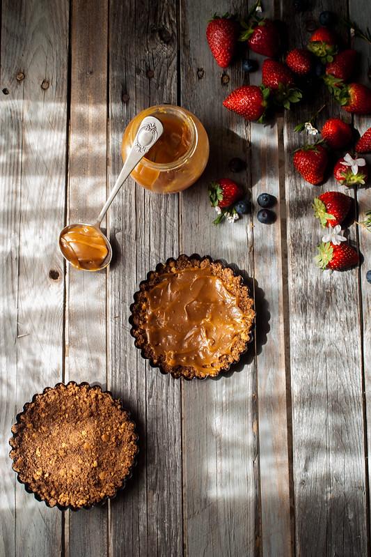 tarta de fresa caramelo saldo y nata