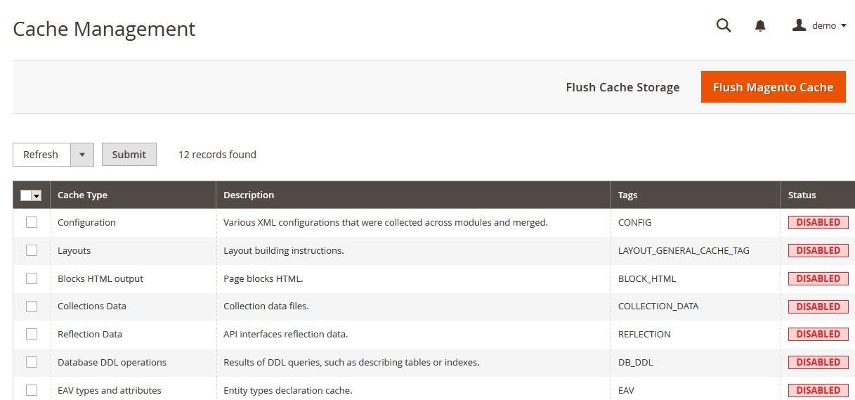 Flush cache storage