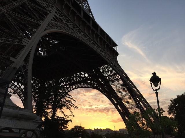 Eiffel Tower, Paris, France at evening sunset