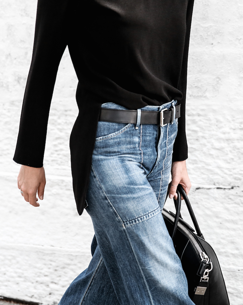 denim wide leg jeans street style Citizens of Humanity Melanie Givenchy Antigona medium street style inspo Stella McCartney loafers minimal Ellery flare sleeve top modern legacy fashion blogger  (11 of 15)
