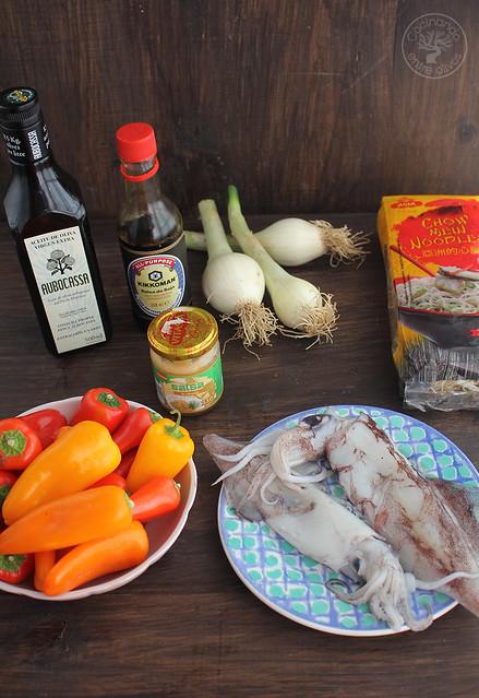 Fideos chinos con calamares y verdura (2)