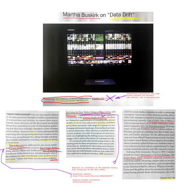 article about Data Drift in Artforum p1