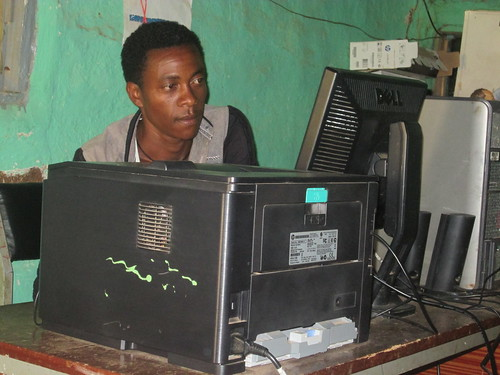 Yohannes Eshetu, an irrigation expert at the Seka Cherkosa District, using the LIVES supported Knowledge management centre in the district