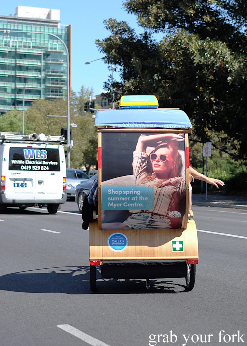 EcoCaddy hybrid-electric passenger tricycle in Adelaide