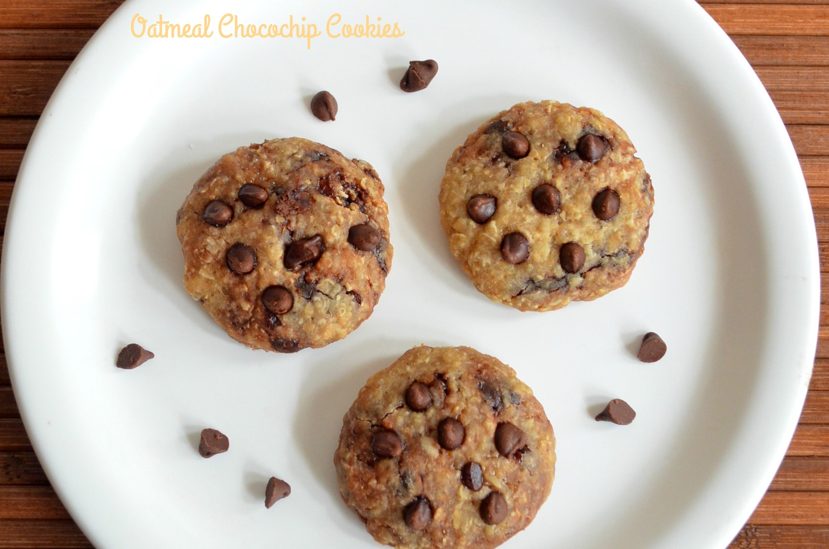 Eggless Oatmeal Cookies Recipe with Chocolate Chips