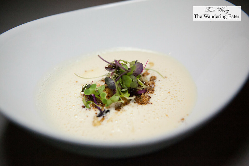 Cougar gold cauliflower soup, hazelnut and micro greens