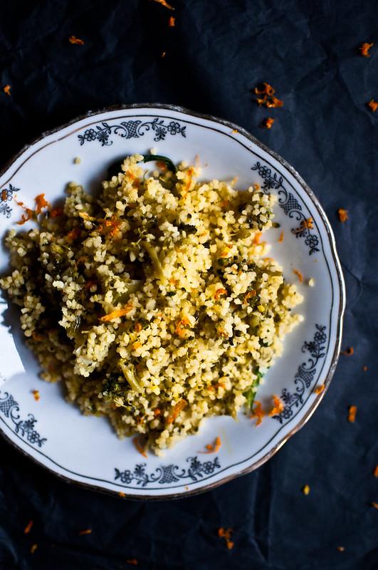 Cous cous al succo d'arancia e broccoli