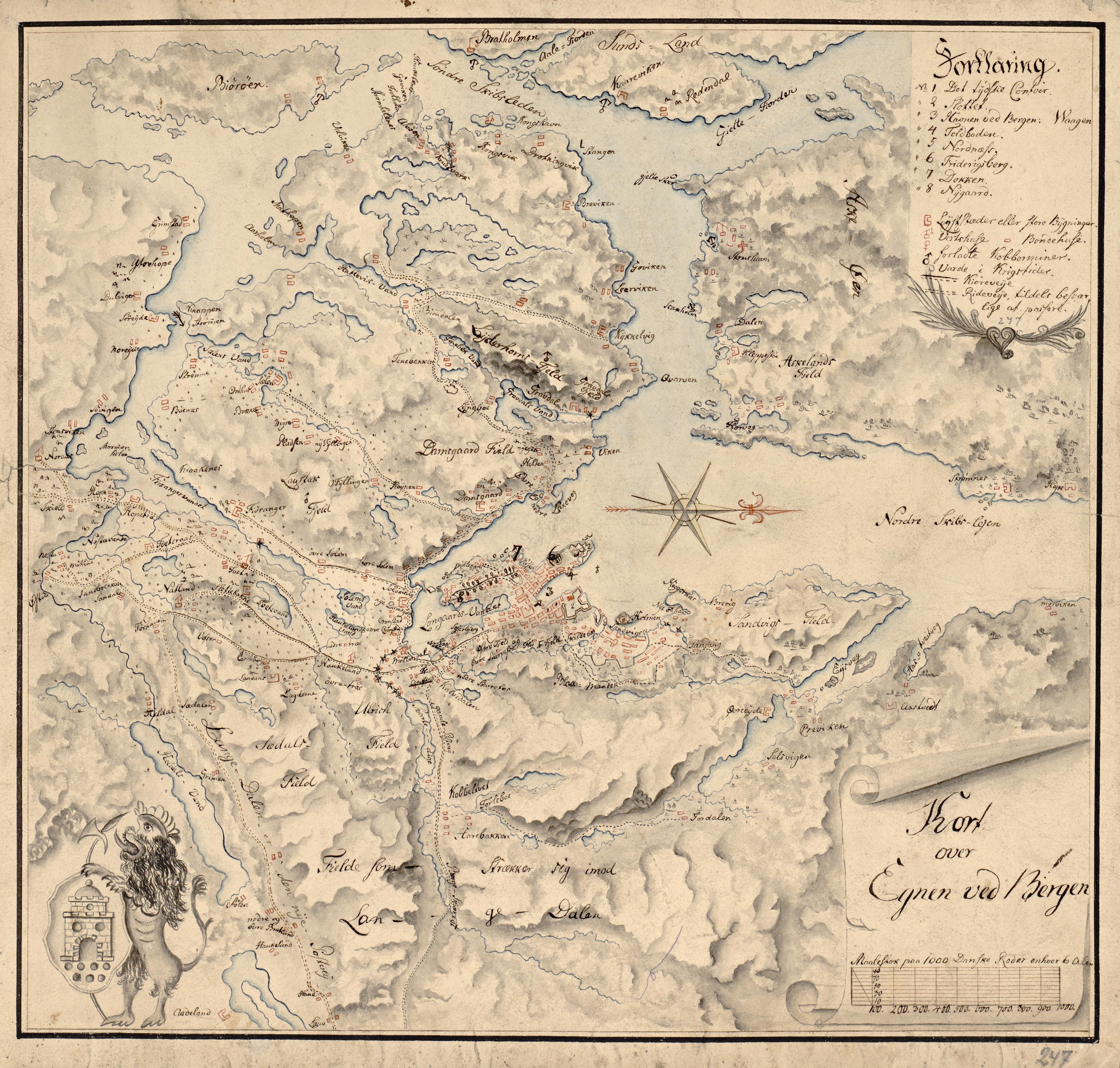 Håndtegnet kart over Bergen med omegn