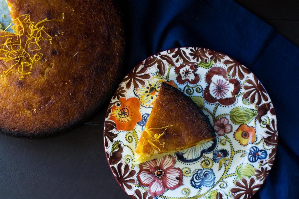 Meyer Lemon Almond Cake with Simple Syrup