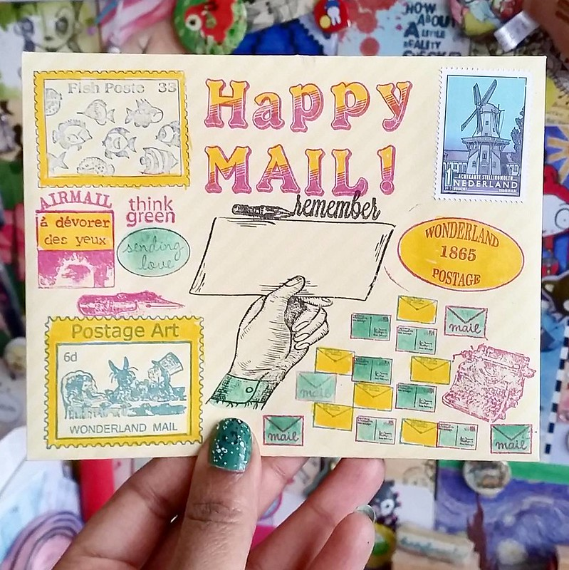 Sending out some #happymail tomorrow #mailart #mailartists #mailartmonday #incowrimo #letters #letterwriter #envelope #snailmailrevival #snailmail #snailmailing #Fpgeeks #fauxpostage #rubberstamped #rubberstampart