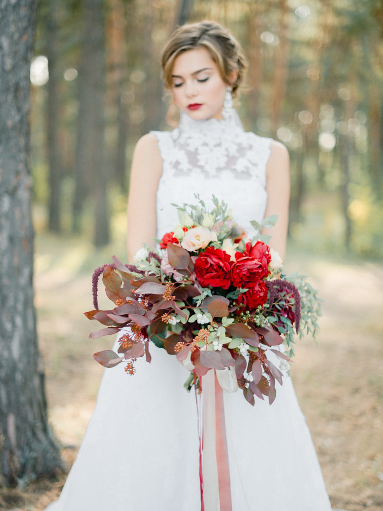high neck wedding dress - shades of red wedding bouquet for autumn wedding , Marsala Wedding Inspiration | fabmood.com #marsala #woodland