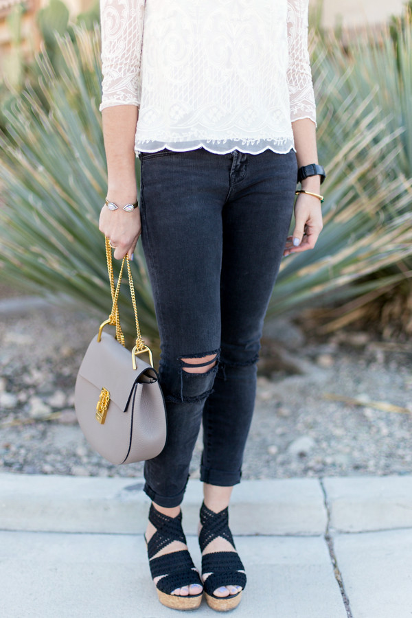J Brand Photo Ready denim + Chloe Drew + LK Bennett wedges