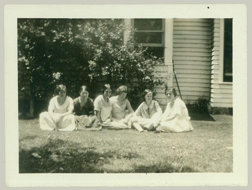 Six girls in the grass