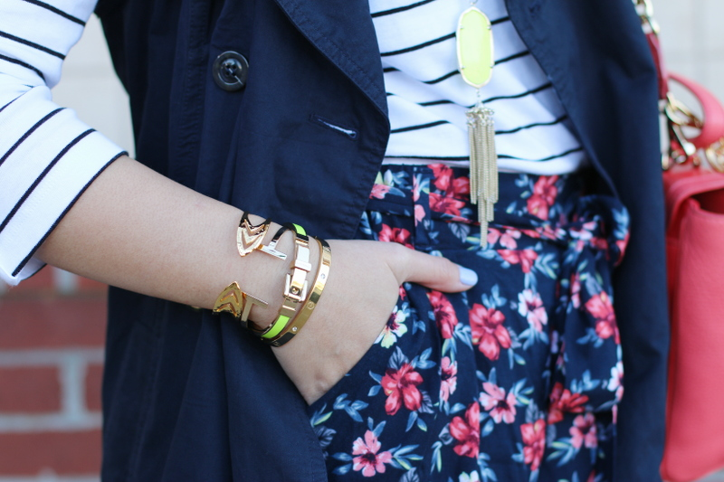 preppy spring look, stripes top, gold bangles, outfit