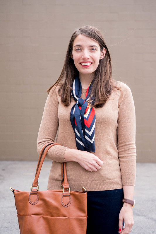 vintage silk scarf + tan sweater + Loft navy cords + Land's End penny loafers | Style On Target