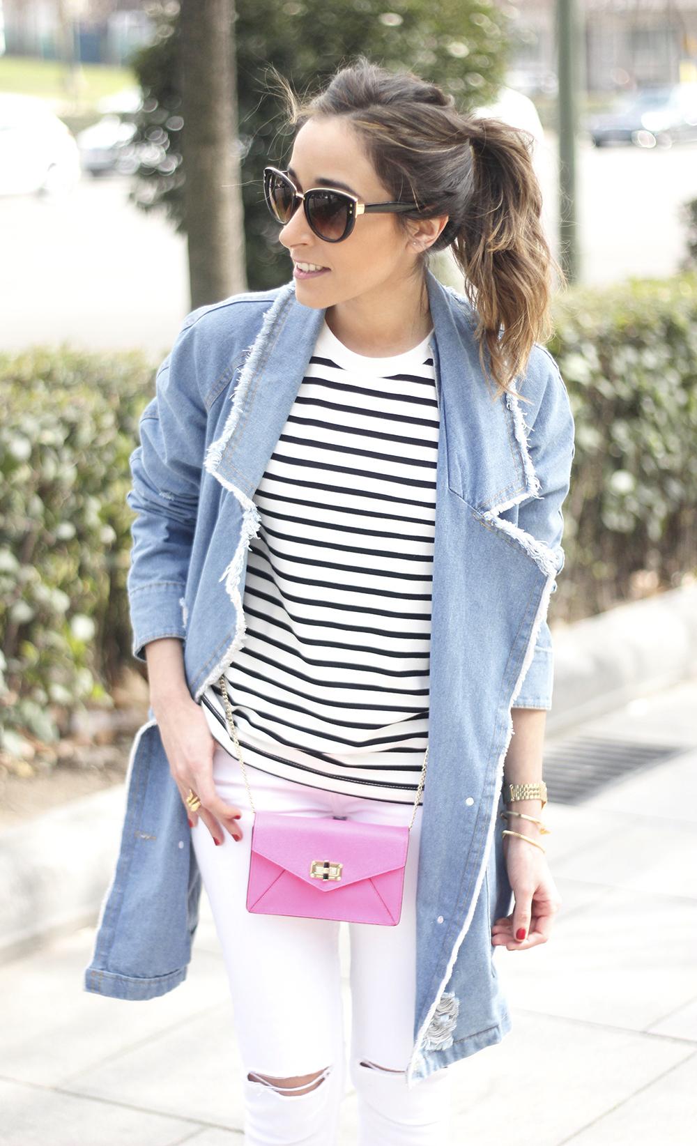 Stripes and Denim Coat Gloria Ortiz Heels Accessories Sunnies Outfit02