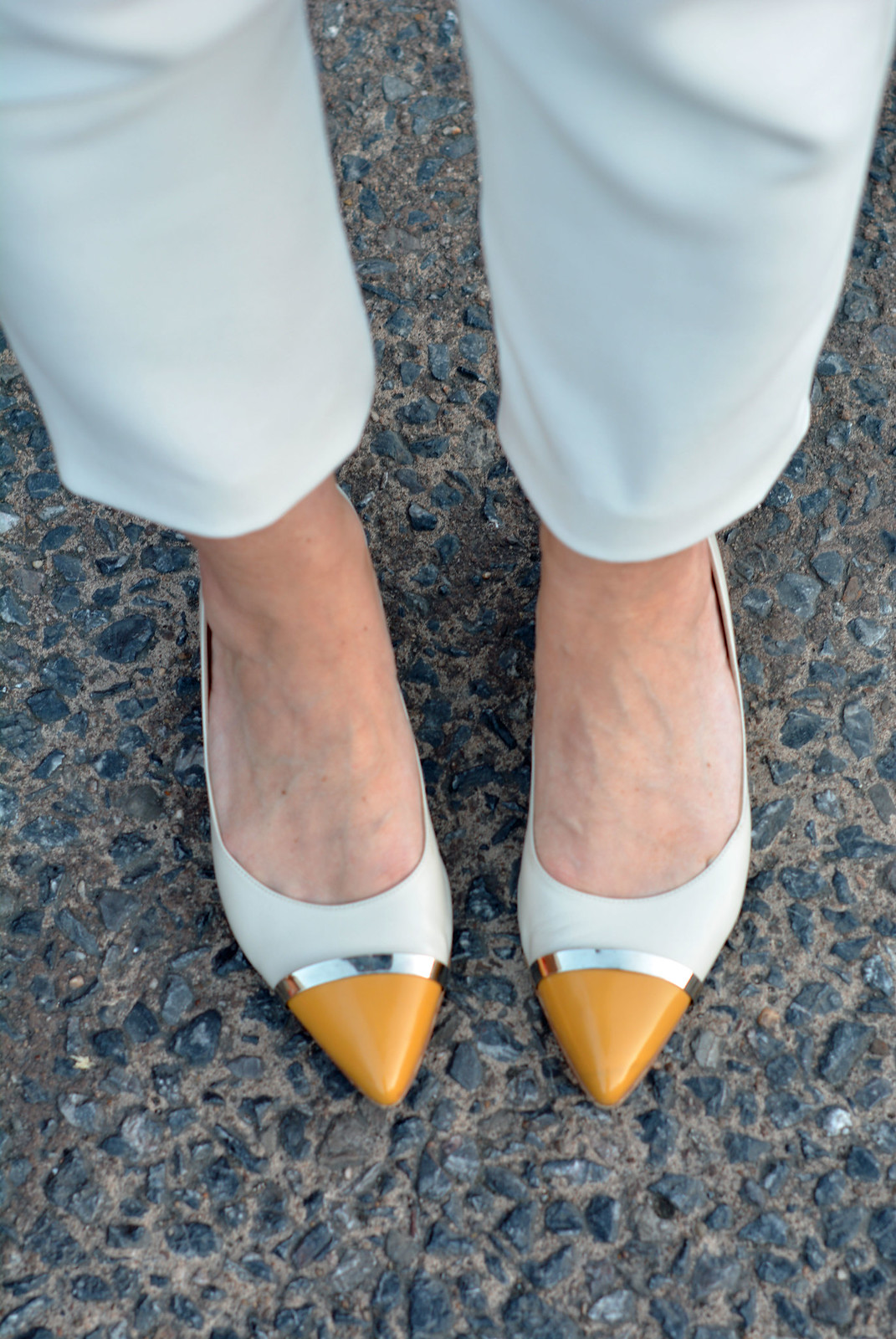 White trousers, two-tone pointed flats | Not Dressed As Lamb