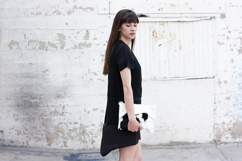 Cowhide Clutch, Black and White Outfit