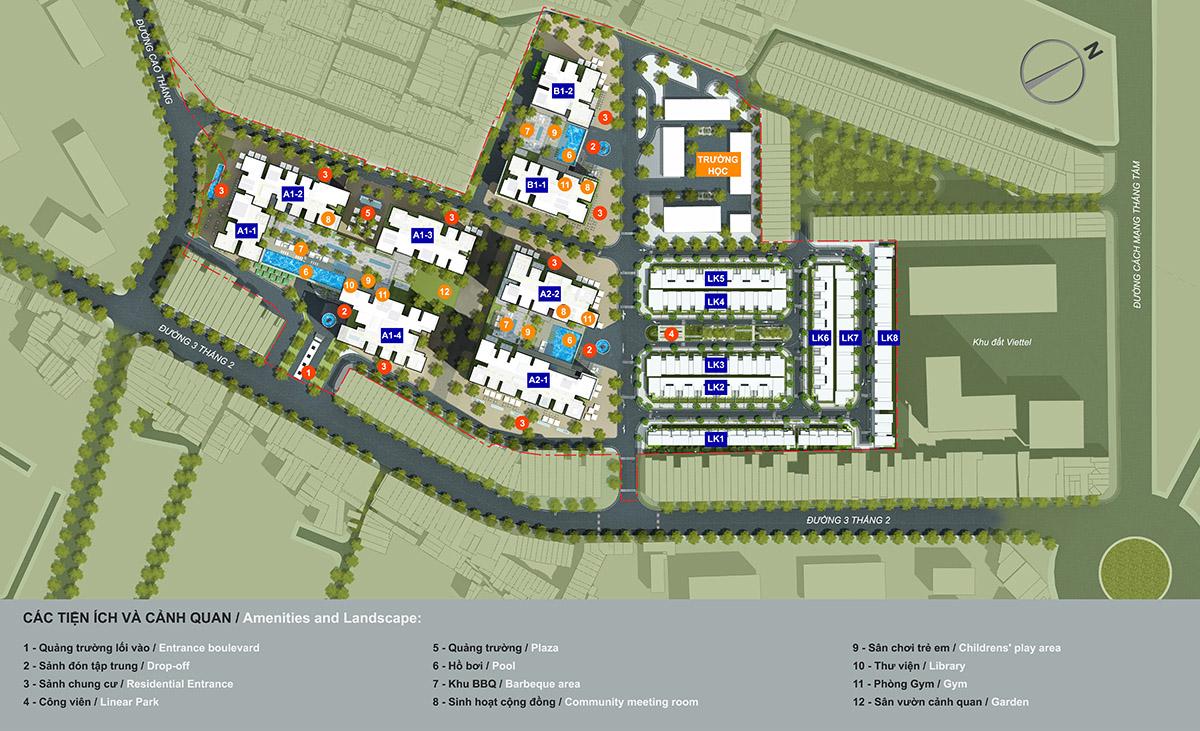 Bản đồ phân bổ tiện ích trong dự án Hà Đô Centrosa Garden quận 10