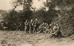 Men of the 105th Engineering Regiment Shelter from German Shells