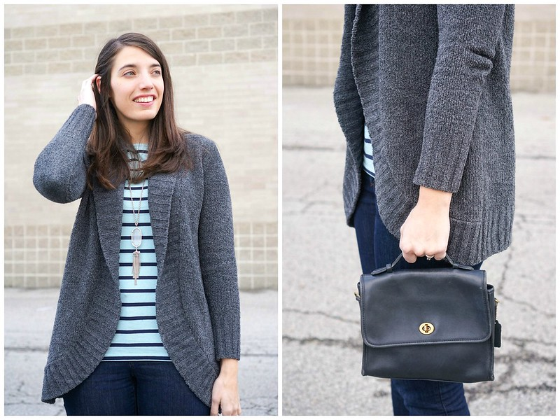 chenille cardigan + Kendra Scott necklace + stripe Target shirt + Loft jeans