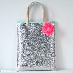 Handmade Silver glitter bag