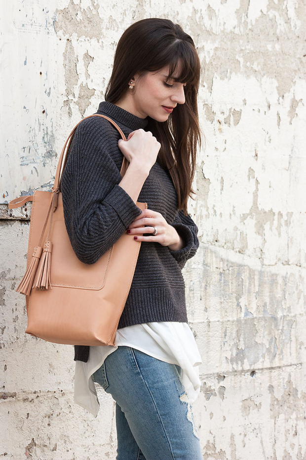 Handmade Leather Tote Bag, Vegetable Tan Leather Bag