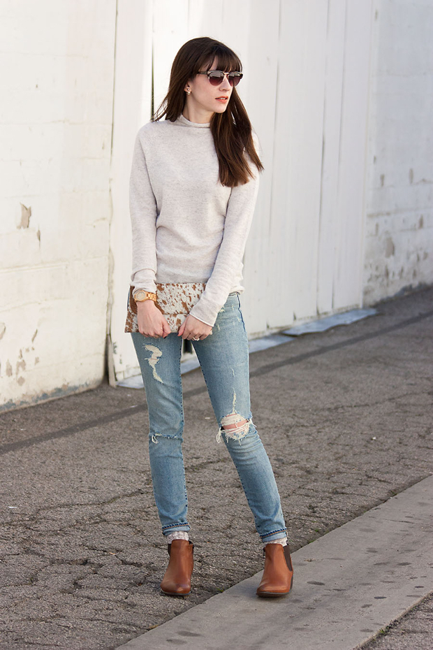 Cashmere Sweater, Ripped Skinny Jeans
