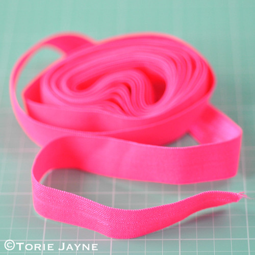 Fold-over-elastic in neon pink