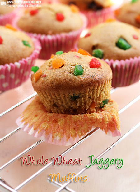 Eggless Whole Wheat Jaggery Muffins