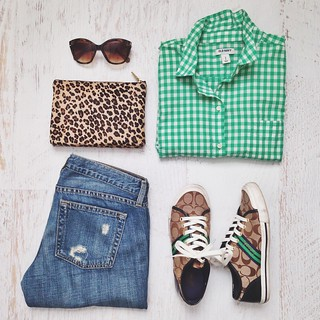 casual green gingham