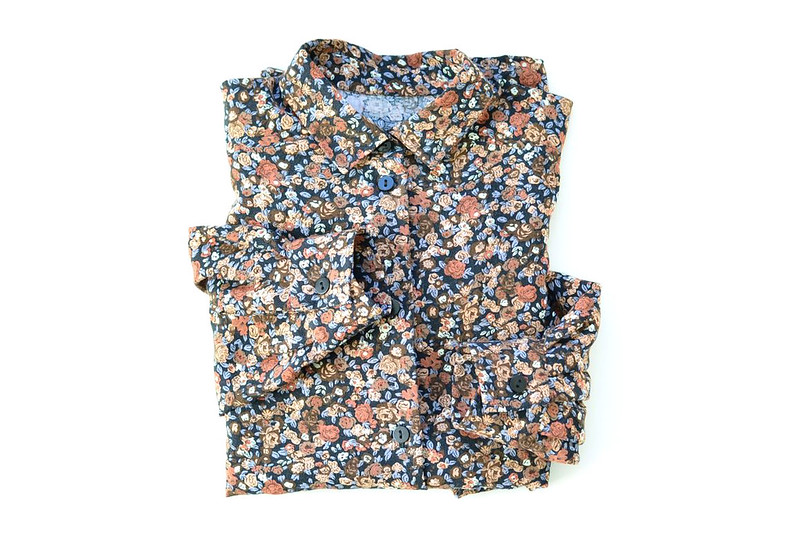 Black, Brown and Blue Floral Blouse