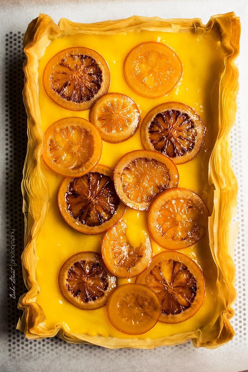Tarta filo de lemon curd y naranja sanguina