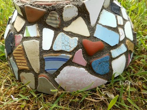 vaso terracotta con mosaico ricicloso 14
