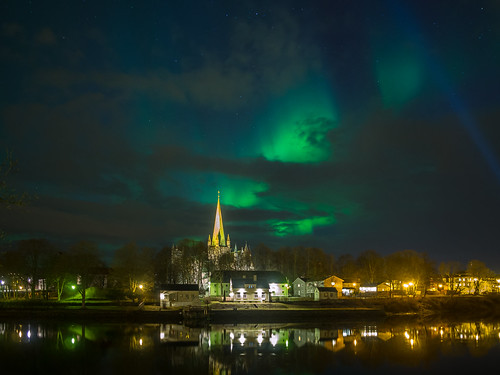 Northern Lights over Nidarosdomen in Trondheim