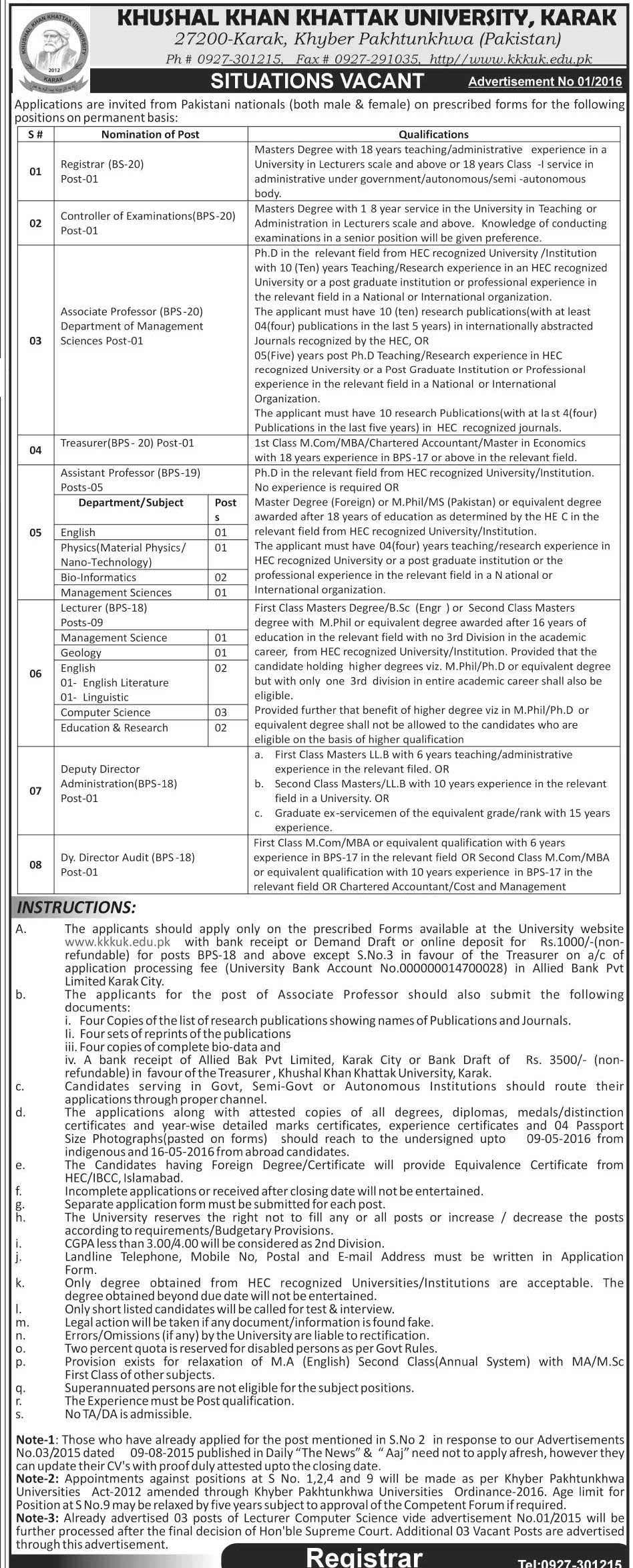 Khushal Khan Khattak University Karak Jobs 2016