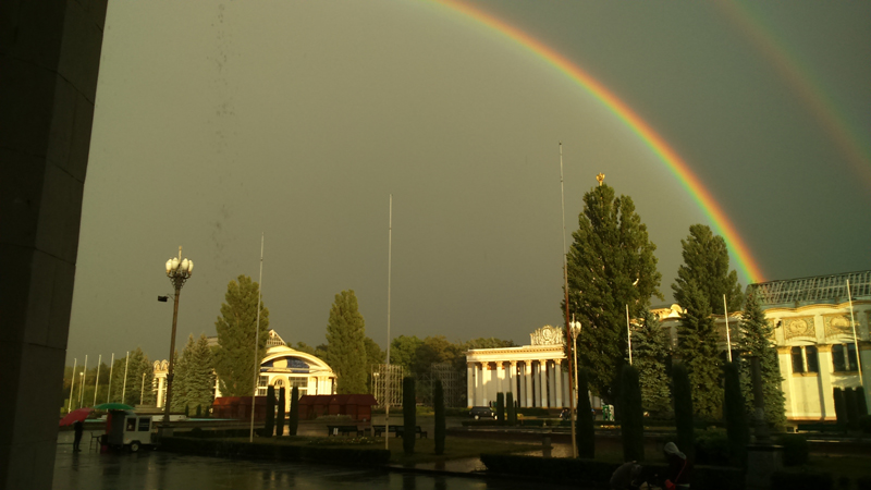 a double rainbow over VDNH
